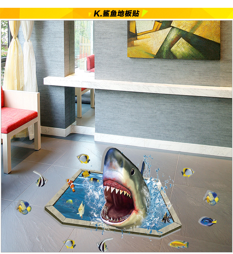 shark creative cartoon wall stick dinosaurs 3d the ground wall stickers hot style living room bedroom bedroom furniture sticker style