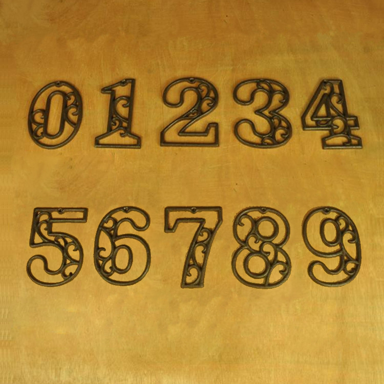 Cast Iron Heavy Duty Metal House Numbers Home Street Address Numbers Signs Antique Brown Finish ...