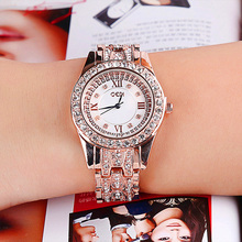 цена Luxury Watch Ladies Fashion Casual Waterproof Women's Quartz Watches Alloy Graceful Women's Watch Diamonds Rose Gold онлайн в 2017 году