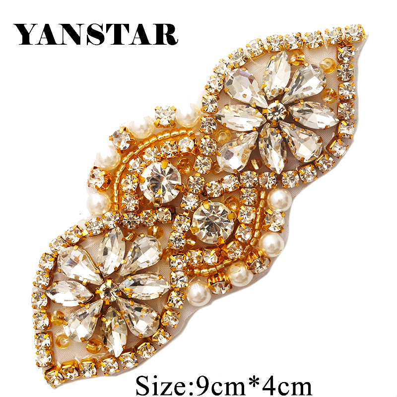 YANSTAR 30PCS Wholesale Bridal Sash Rhinestone Applique With Beads On Wedding Dress Iron On For Bridal