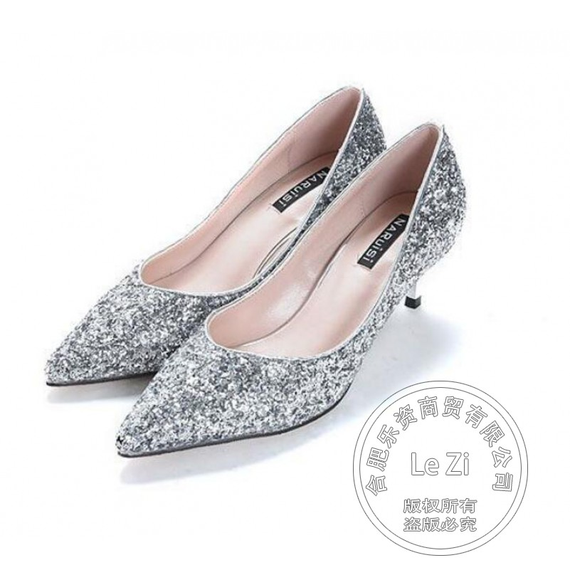 Bling Less Platform Pumps Winkle Picker Sequined Cloth Pull On Prom Crystal font b Women b