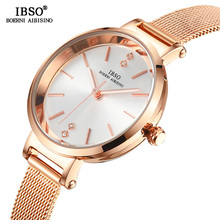 IBSO Women's Crystal Design Quartz Watch Ultra-Thin Wrist Watches Female Stainless Steel Mesh Strap Watch Relogio Feminino цена