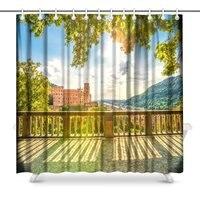Heidelberg Castle Polyester Fabric Bathroom Shower Curtain 72 X 72 Inches