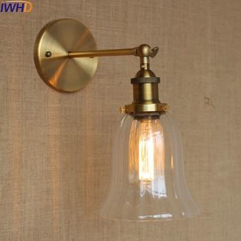 IWHD Adjustable Vintage Glass Wall Light up down Single Swing Arm Wall Lamp Led Lighting Stairs Living Room Beside arandela e27