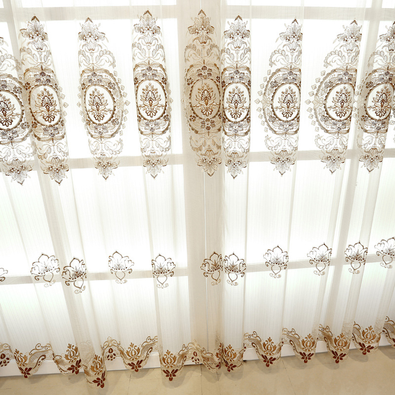 Embroidered Luxury Window Curtains For Living Room /Bedrooms / Hotel  Customized Khaki Curtains+Tulle Home Furnishing/Treatment In Curtains From  Home ...