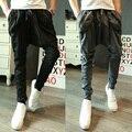 Caliente 2017 nueva moda casual pantalones Harem hombres pantalones delgados pantalones grandes de la entrepierna de hip-hop hiphop cantante de club nocturno trajes pantalones