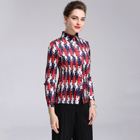 European And American Fashion Personality Women New Winter Shirt Lapel Button Cardigan Shirt All Match Stamp