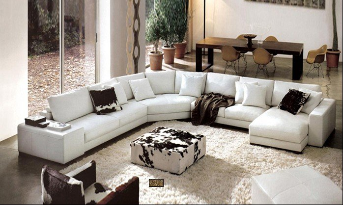 Wooden Sofa Living Room Furniture U Shaped Combination Of Corner Leather .  Mori ... - Corner Furniture Living Room