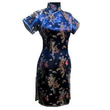 Navy blueTraditional Chinese Classic Dress Mujere Vestido Women's Satin Cheongsam Mini Qipao Size S M L XL XXL XXXL 4XL 5XL 6XL