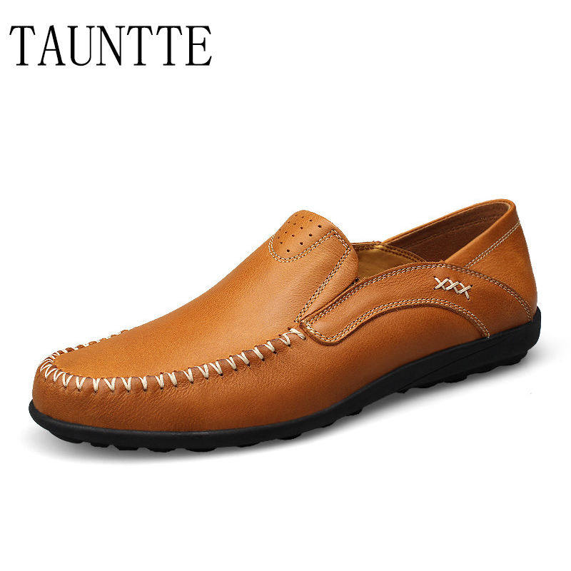 Tauntte Four Season Breathable Men Loafers Korean Casual Genuine Leather Shoes new 2017 men s genuine leather casual shoes korean fashion style breathable male shoes men spring autumn slip on low top loafers
