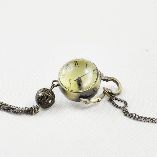 6b8b5d463a2 Atacado Bola Projeto Quartzo colar relógio de bolso de Bronze Do Vintage