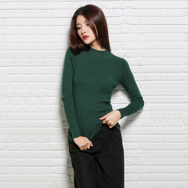 Aliexpress.com : Buy Fall Casual Green Half Turtleneck Women ...