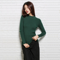 Fall Casual Green Half Turtleneck Women Sweater Wool Knitted Long Sleeve Jumpers Winter Female Elastic Pullover Sweaters