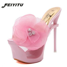 FeiYiTu 2019 Slides New Shoes woman Slippers Diamond Flower Shoe Club 16cm Super Fine Sexy High-heeled Sandals Slippers Platform xmistuo asual slopes with cool slippers ladiesnoble atmosphere on the grade high heeled shiny diamond slippers simple sandals