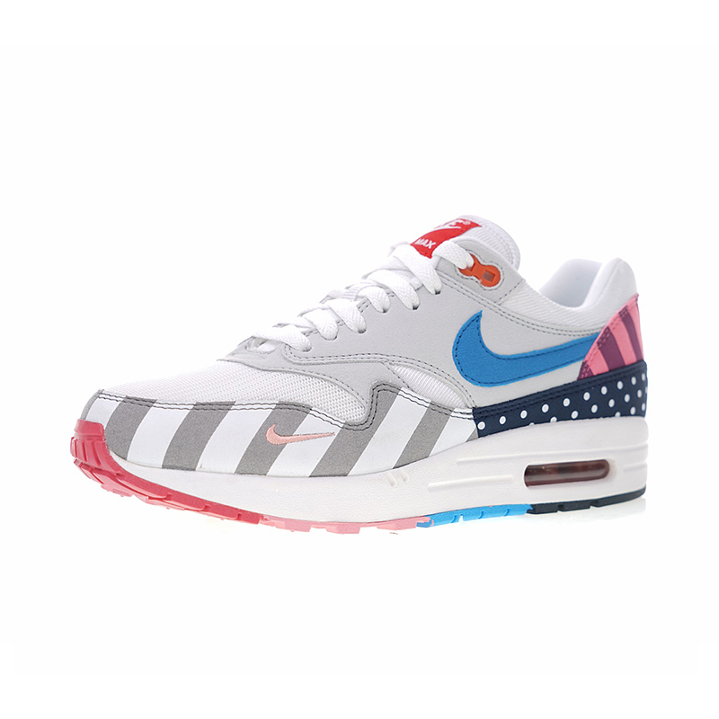 premium selection 1170b 9be77 US $82.39 41% OFF|Original Authentic Nike Air Max 1 Parra White Multi Men's  Running Shoes Sneakers Top Quality Athletic Designer Footwear 2018 New-in  ...