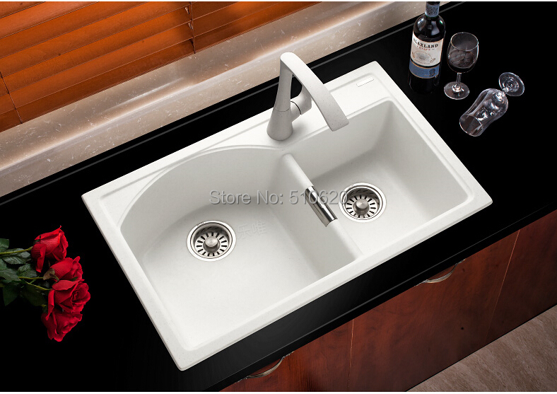 Kitchen Double Sink #33: Free Shipping High Quality FQ760 Granite Kitchen Double Sink/stone Sink(China (Mainland
