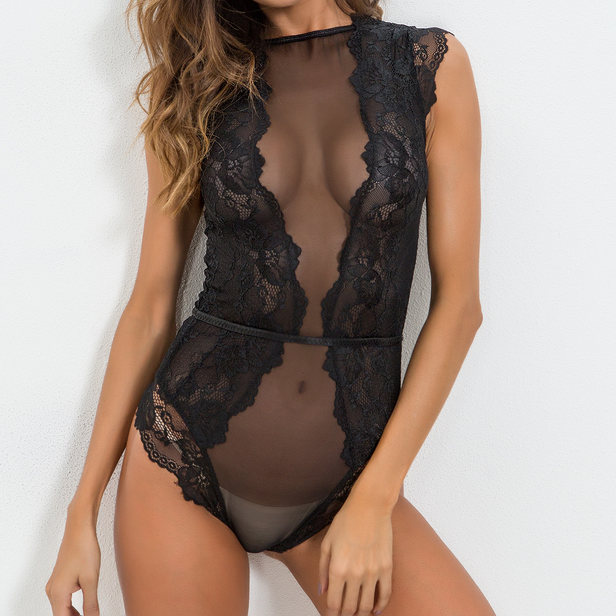 Women Bodysuit Hollow See-Through Solid Playsuit 2019 Summer Fashion Sexy Ladies Lace Patchwork Temptation Bodysuits