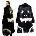 Зимние мужские искусственный мех Длинный жакет Черный платье белый дьявол долго ветровка G-dragon's Криво Имитация Искусственного лиса Шубу