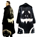 Winter men's faux fur Long jacket Black gown white devil long windbreaker G-dragon's Crooked Imitation Faux Fox Fur Coat