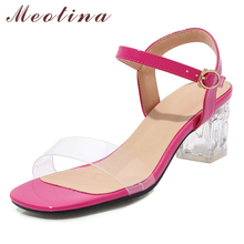 Купить с кэшбэком Meotina High Heels Shoes Women Transparent Chunky Heel Party Shoes Buckle Open Toe Lady Sandals Summer Yellow Large Size 3-12 40