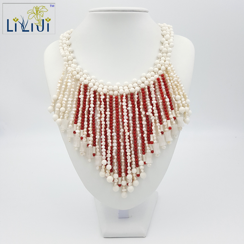 Lii Ji White Coral,White Jade,Dye Red Coral , Freshwater Pearl Beads with Jade Toggle Clasp Big Necklace