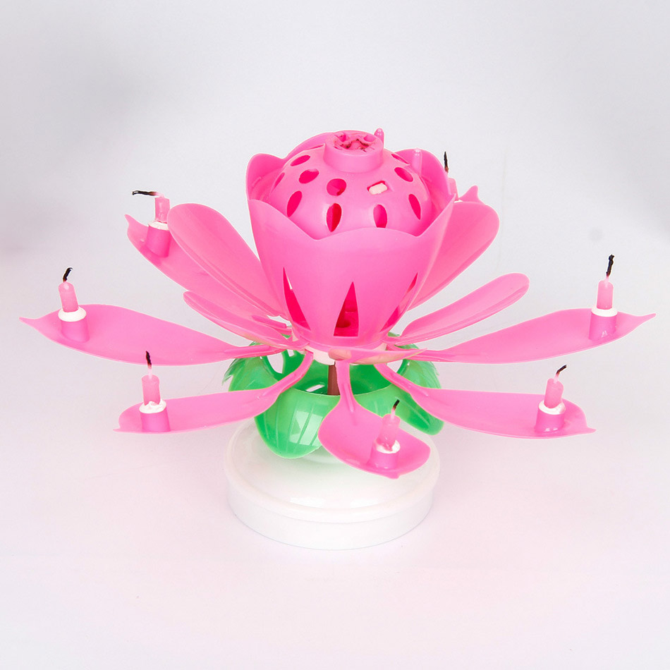 Birthday candles beautiful musical lotus flower happy birthday party birthday candles beautiful musical lotus flower happy birthday party gift rotating lights decoration double layer 8 candles lamp in candles from home izmirmasajfo