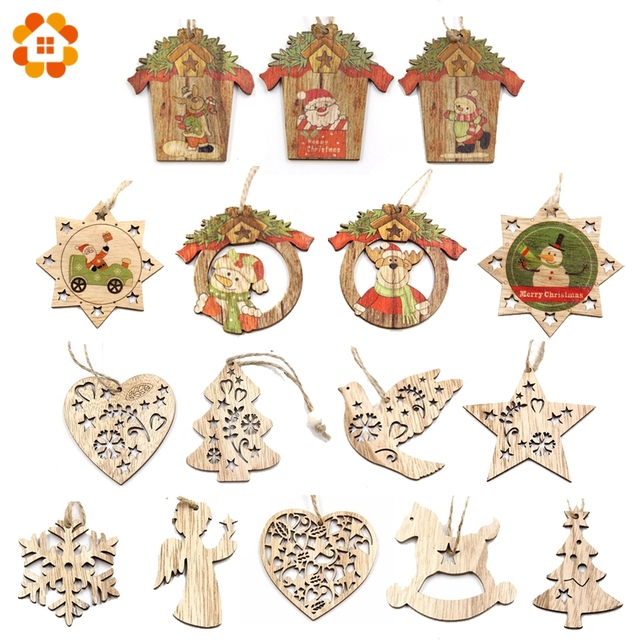 Hot!1PC Creative Christmas Wooden Pendants Ornaments DIY Wood Crafts Xmas Tree Ornaments Christmas Party Decorations Kids Gift