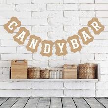 Beadia Candy Bar Kraft papel cartón banderines Banner guirnalda Vintage decoración de la boda signo Baby Shower cumpleaños fiesta Buffet