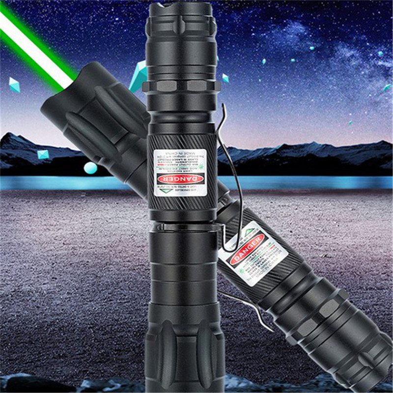 10000m High Power Clip 532nm Green Laser Pointer Multiple Pattern Focus Laser Sight Portable Metal Waterproof Lazer Pointer