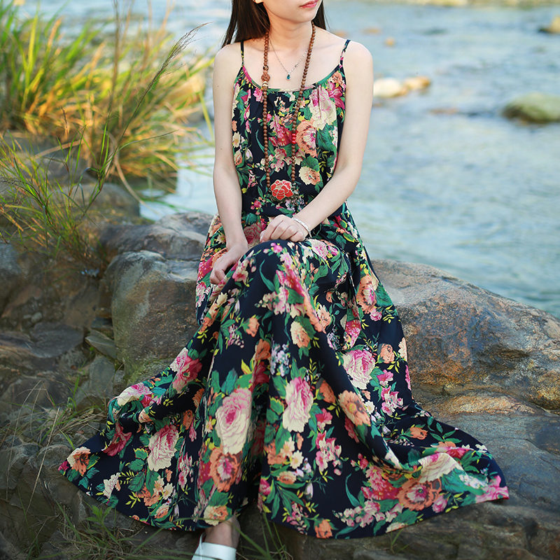 LZJN Original Maxi Slip Dress 2019 Ljetni Sarafan Pamučno posteljina - Ženska odjeća - Foto 5