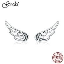 Geoki 925 Sterling Silver White Cubic Zirconia Paved Angel Wing Stud Earrings Cute Wedding Earrings Teen Girls Classic Jewelry недорого