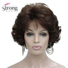 קצר מתולתל כהה אובורן סינטטי שיער מלא פאה של נשים עבה פאות עבור כל יום
