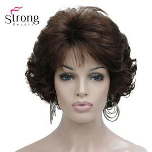 Image 1 - Ngắn Xoăn DARK AUBURN Tóc Tổng Hợp Toàn bộ tóc giả nữ Dày Tóc Giả Cho Hàng Ngày
