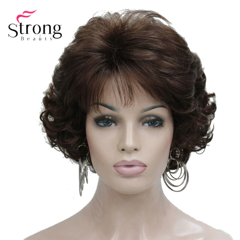Short Curly Dark Auburn Synthetic Hair Full Wig Women's Thick Wigs For Everyday