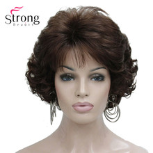 Short Curly Dark Auburn Synthetic Hair Full wig Womens Thick Wigs For Everyday