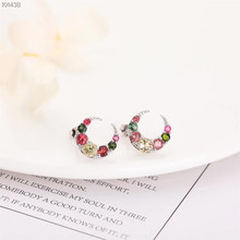 gemstone jewelry factory wholesale fashionable 925 sterling silver natural colorful tourmaline stud earrings for women