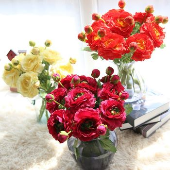 8 Branch Artificial Flowers Rose Lotus Roses Fake Flowers Wedding Supplies Home Decoration Silk Flowers