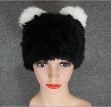 Free Shipping Genuine Knit Rabbit Fur Hat Nature Rabbit fur Cap Headgear Headdress Various Fashion Women