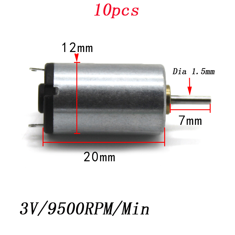 10pcs <font><b>1220</b></font> Micro DC 3V <font><b>Motor</b></font> for Children Boys DIY Handmade Science Experiment Parts 3V/9500RPM High Speed Mute Engine image