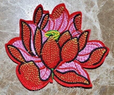 ГОРЯЧАЯ SALL!~ Индийский Лотос красный Панк гладить на Нашивки, пришить патч, Аппликации, из ткани, гарантия качества