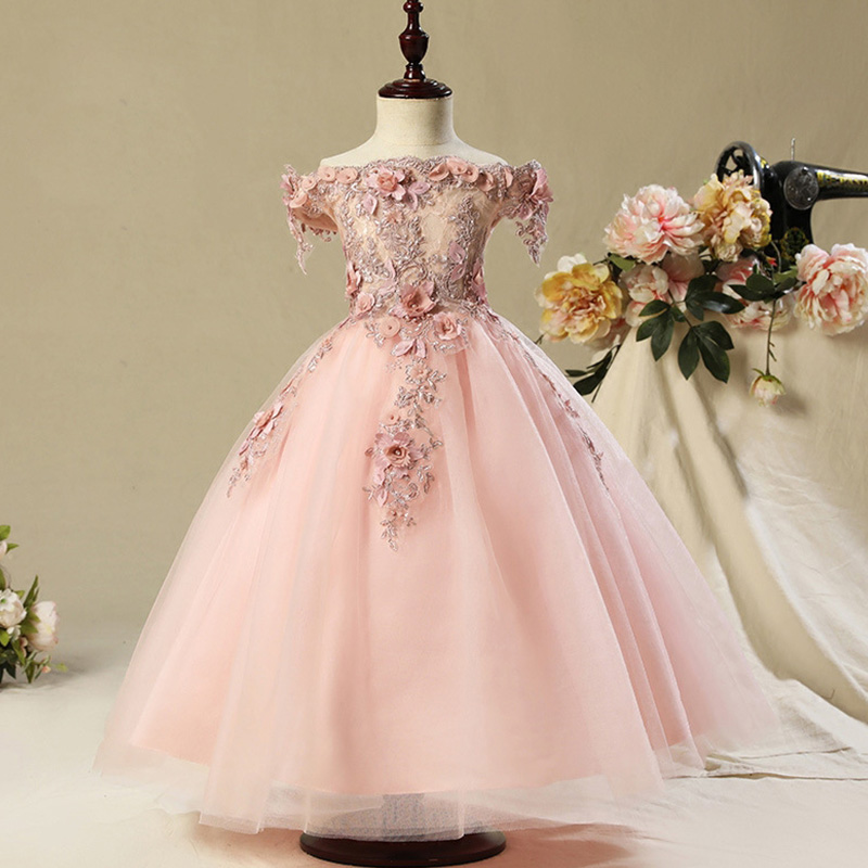 Длинное платье с цветочным узором для девочек, украшенное бусинами; Новинка года; праздничное платье для девочек на свадьбу; Красивое бальное сексуальное платье с открытыми плечами - Цвет: pink
