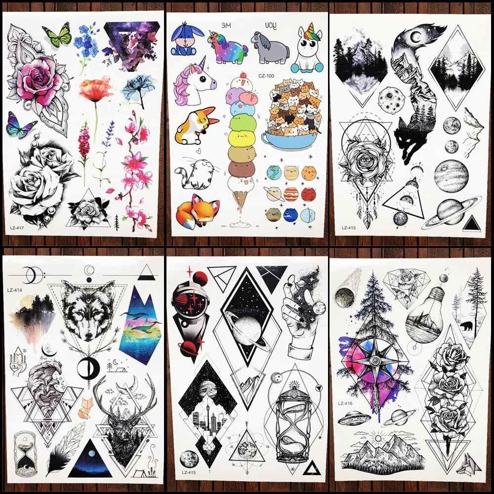 cb61cc83c97e0 Trend Geometric Temporary Tattoo Stickers Women Body Arm Art Dreamcatcher  Flash Tatoos Men Chest Moon Waterproof