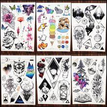 2b55ff80e1b1c Trend Geometric Temporary Tattoo Stickers Women Body Arm Art Dreamcatcher  Flash Tatoos Men Chest Moon Waterproof
