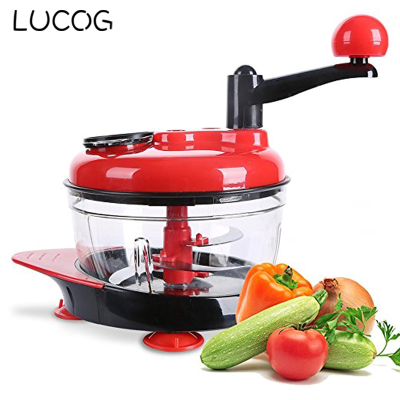 LUCOG 2000ml Meat Slicer Machine Kitchen Manual Food Processor Egg Mixer Fruit Vegetable Nut Meat Chopper with 3 Gears wavelets processor