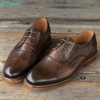 QYFCIOUFU Classic Men Shoes For Wedding Brand Genuine Leather Round Toe Shoes High Quality Lace-Up Business Formal Dress Shoes