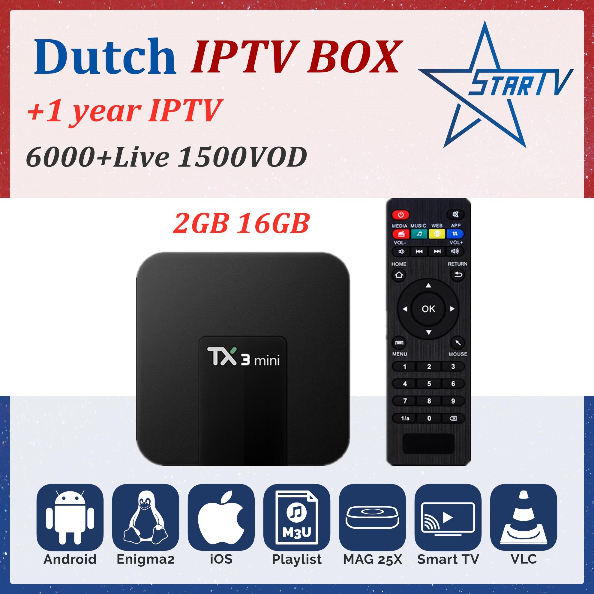 TX3 mini smart tv box android 7 1 2G16GB Dutch IPTV subscription IPTV France Spain Portugal