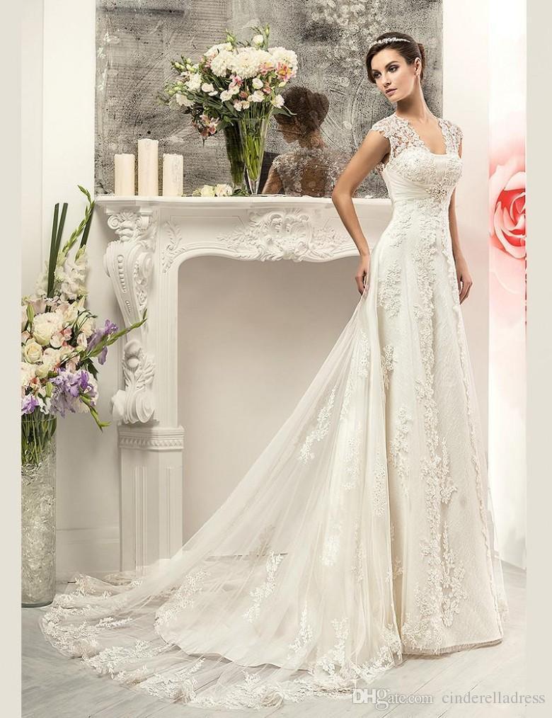 19224ff418b Lace Aline Wedding Dress With Cap Sleeves - Data Dynamic AG