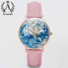 Avocado Hot World Map Women Watches Ladies Clock Leather Watchband Geneva Quartz Wristwatches Girl Gift Kids ChildrenS