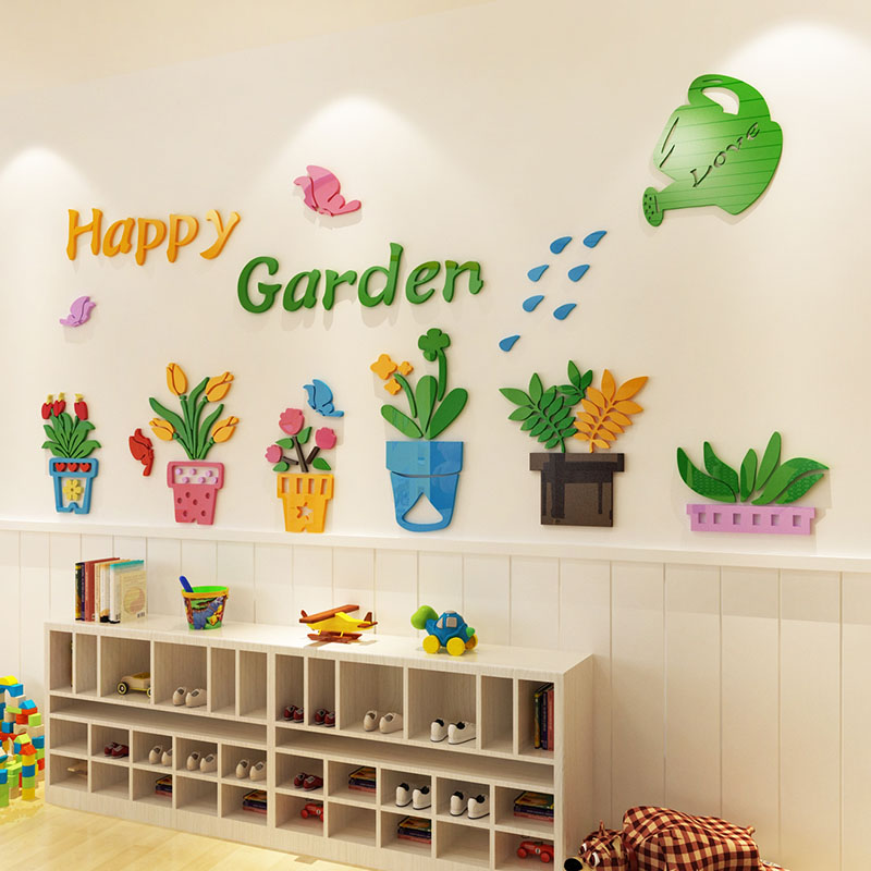 customized potted plants design 3d acrylic wall stickers diy sticker