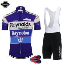 רטרו קצר שרוול ג רזי סט פרו צוות אופניים ללבוש ג רזי סט סינר מכנסיים קצרים לנשימה 9D ג ל Pad רכיבה על אופניים MTB ropa Ciclismo